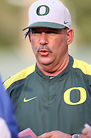 Oregon Ducks Head Coach George Horton #8 before a game against the UCLA Bruins at Jackie Robinson Stadium on April 6, 2012 in Los Angeles,California. Oregon defeated UCLA 8-3.(Larry Goren/Four Seam Images)