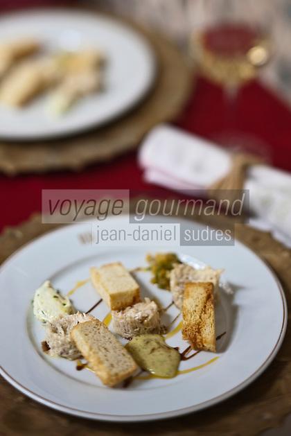 Afrique/Afrique du Nord/Maroc/Essaouira: Araignée de mer au naturel aux trois vinaigrettes, Recette d'  Ahmed Andour chef du restaurant de  L'heure Bleue, Palais, Relais et Château