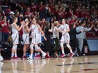 STANFORD, CA - March 17, 2018: Alanna Smith, Brittany McPhee at Maples Pavilion. The Stanford Cardinal defeated the Gonzaga Bulldogs 82-68 to advance to the second round of the NCAA tournament.