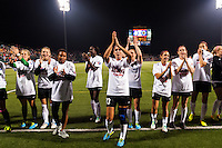 Portland Thorns players including forward Alex Morgan (13) salute the Thorns fans after the match. The Portland Thorns defeated the Western New York Flash 2-0 during the National Women's Soccer League (NWSL) finals at Sahlen's Stadium in Rochester, NY, on August 31, 2013.