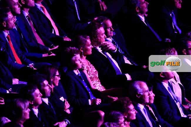 Des Smyth (Vice-Captain), Jose Olazabal (Vice-Captain) and Miguel Angel Jimenez (Vice-Captain) during the Ryder Cup Gala Concert 2014 at SSE Hydro on Wednesday 24th September 2014.<br /> Picture:  Thos Caffrey / www.golffile.ie
