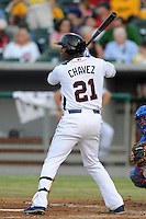 Tennessee Smokies left fielder Johermyn Chavez #21 swings at a pitch during a game against the Chattanooga Lookouts  at Smokies Park on April 10, 2013 in Kodak, Tennessee. The Lookouts won 6-2. (Tony Farlow/Four Seam Images).