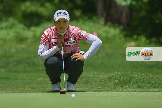 Amy Yang (KOR) lines up her putt on 1 during round 1 of the U.S. Women's Open Championship, Shoal Creek Country Club, at Birmingham, Alabama, USA. 5/31/2018.<br /> Picture: Golffile | Ken Murray<br /> <br /> All photo usage must carry mandatory copyright credit (© Golffile | Ken Murray)
