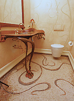 Custom Art Nouveau bath floor in Travertine White, Renaissance Bronze, Crema Marfil, Red Lake, Aegean Brown, Rosa Verona, Giallo Reale, Breccia Pernice