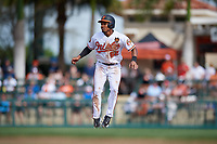 Baltimore Orioles shortstop Richie Martin (82) leads off during a Grapefruit League Spring Training game against the Tampa Bay Rays on March 1, 2019 at Ed Smith Stadium in Sarasota, Florida.  Rays defeated the Orioles 10-5.  (Mike Janes/Four Seam Images)