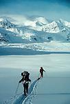 Denali National Park, Alaska: Backcountry skiers traverse the Ruth Amphitheater, Denali National Park, Alaska Range, Alaska,