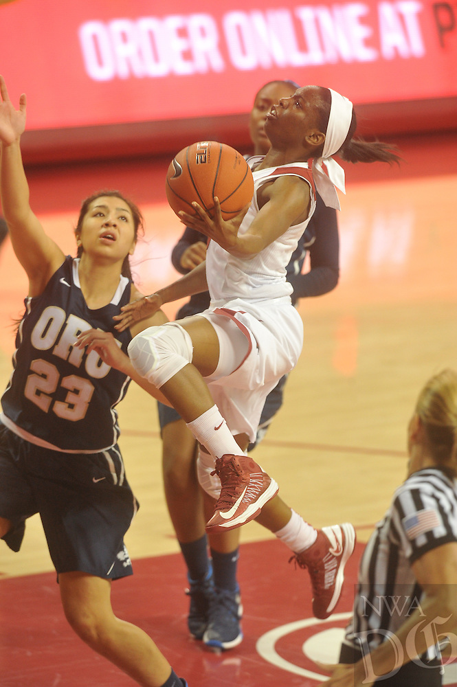 NWA Democrat-Gazette/MICHAEL WOODS &bull; <br /> University of Arkansas Lady Razorbacks vs Oral Roberts Thursday December 10, 2015 at Bud Walton Arena in Fayetteville.