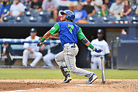 Lexington Legends designated hitter MJ Melendez (7) swings at a pitch during a game against the Asheville Tourists at McCormick Field on May 25, 2018 in Asheville, North Carolina. The Tourists defeated the Legends 6-4. (Tony Farlow/Four Seam Images)