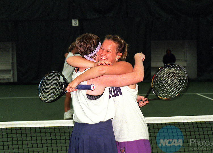 11 MAY 98:  Erin Hockman (left) and Caryn Cuthbert of Kenyon College embrace and celebrate after defeating their opponents at the Divsion III Women's Tennis Championships held at Washington and Lee University in Lexington, VA. Levine went onto defeat Cuthbert for the championship title. Andres Alonso/NCAA Photos