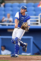 Dunedin Blue Jays catcher Michael Reeves (4) during a game against the Daytona Cubs on April 16, 2014 at Florida Auto Exchange Stadium in Dunedin, Florida.  Dunedin defeated Daytona 5-1.  (Mike Janes/Four Seam Images)