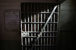 The hospital doors were larger than the prison doors in order to accommodate beds and patients.   A group of photographers from the Media Alliance overnighted on Alcatraz and documented their tour in San Francisco, California..