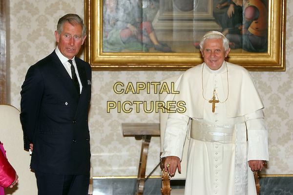 HRH PRINCE CHARLES & POPE BENEDICT XVI.Prince Charles & Camilla Parker Bowles first full day in Rome also included private talks at the Vatican with Pope Benedict XVI, who has been campaigning for responsible use of natural resources, Rome, Italy..April 27th, 2009.half length royalty prince of wales blue suit black white .CAP/ADM/Liverani/FI.©Flavio Ianniello/Liverani/AdMedia/Capital Pictures