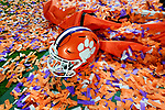 A Clemson Tigers helmet surrounded by confetti after the Fiesta Bowl game against the Ohio State Buckeyes on Saturday, Dec 28, 2019 in Glendale, Ariz.  (Gene Lower via AP)