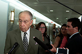 United States Senator Chuck Grassley (Republican of Iowa) speaks to the media on Capitol Hill in Washington D.C., U.S. on July 31, 2019.