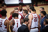 STANFORD, CA - January 26, 2019: Jerod Haase, Bryce Wills, Oscar da Silva, Daejon Davis, Isaac White, KZ Okpala, Jaiden Delaire, Josh Sharma at Maples Pavilion. The Stanford Cardinal defeated the Colorado Buffaloes 75-62.