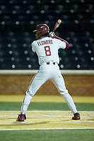 J.C. Flowers (8) of the Florida State Seminoles at bat against the Wake Forest Demon Deacons at David F. Couch Ballpark on March 9, 2018 in  Winston-Salem, North Carolina.  The Seminoles defeated the Demon Deacons 7-3.  (Brian Westerholt/Four Seam Images)