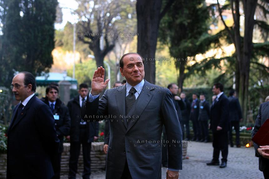 Roma, 20 Febbraio 2006. Silvio berlusconi al suo arrivo all'ambasciata italiana presso la santa sede per la firma dei patti lateranensi