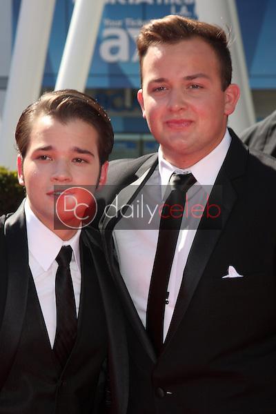 Nathan Kress, Noah Munck<br /> at the Primetime Creative Arts Emmy Awards  2013 Arrivals, Nokia Theater, Los Angeles, CA, 09-15-13<br /> David Edwards/DailyCeleb.Com 818-249-4998