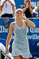 April 11, 2010:  MPS Group Championships.   Caroline Wozniacki (DEN) blows a kiss to the crowd after winning finals singles action at the MPS Group Championships played at the Sawgrass Country Club in Ponte Vedra, Florida.  Caroline Wozniacki (DEN) defeated Olga Govortsova (BLR) 6-2, 7-5 to win the tournament for the second consecutive year..