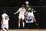 8 December 2007: Notre Dame's Ryan Miller (2) wins a header against Wake Forest's Cody Arnoux (17). Wake Forest University defeated Notre Dame University 1-0 in overtime at Spry Stadium in Winston-Salem, NC in an NCAA Men's Soccer tournament quarterfinal.
