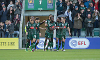 Jordan Slew of Plymouth Argyle (third right) celebrates scoring his side's first goal during the Sky Bet League 2 match between Plymouth Argyle and Wycombe Wanderers at Home Park, Plymouth, England on 26 December 2016. Photo by Mark  Hawkins / PRiME Media Images.