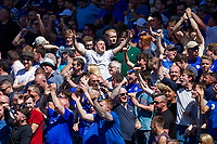 Cardiff fans react to a score update in the Birmingham-Fulham match during the Sky Bet Championship match between Cardiff City and Reading at the Cardiff City Stadium, Cardiff, Wales on 6 May 2018. Photo by Mark  Hawkins / PRiME Media Images.
