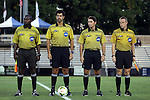 26 September 2014: Match officials. From left: Assistant referee Clive Edwards, referee Fotis Bazakos, fourth official Ben Meyer, and assistant referee Mark Buda. The Duke University Blue Devils hosted the Boston College Eagles at Koskinen Stadium in Durham, North Carolina in a 2014 NCAA Division I Men's Soccer match. Duke won the game 1-0.