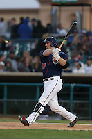 Chase McDonald (23) of the Lancaster JetHawks bats during a game against the San Jose Giants at The Hanger on April 11, 2015 in Lancaster, California. San Jose defeated Lancaster, 8-3. (Larry Goren/Four Seam Images)