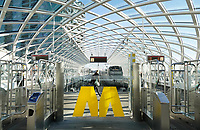 Nederland - Den Haag. 2019. HSE station. In 2016 is bovenop Den Haag Centraal een nieuw station in gebruik genomen. Vanaf hier kunnen reizigers met de RandstadRail naar Rotterdam. Foto Berlinda van Dam / Hollandse Hoogte
