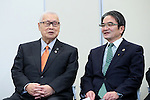 (L-R) Yoshiro Mori, Ryohei Miyata, April 8, 2016 : <br /> The Tokyo 2020 Emblems Selection Committee unveiled Shortlisted Emblem designs in Tokyo, Japan. (Photo by Yohei Osada/AFLO SPORT)
