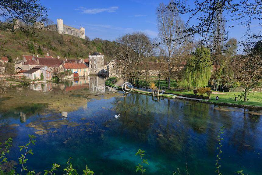 France, la Puisaye, Yonne (89), Druyes-les-Belles-Fontaines, plan d'eau avec les sources de la Druyes // France, the Puisaye, Yonne, Druyes-les-Belles-Fontaines, the sources of Druyes