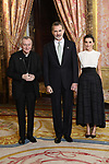 King Felipe VI of Spain (c) and Queen Letizia of Spain (r) receive Vatican secretary of State cardinal Pietro Parolin because of the United Nations conference for the Climate Summit 2019 (COP25) at the Royal Palace. December 2,2019. (ALTERPHOTOS/Pool/Carlos Alvarez)