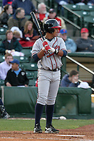 Richmond Braves Luis Hernandez during an International League game at Frontier Field on April 17, 2006 in Rochester, New York.  (Mike Janes/Four Seam Images)