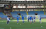 Alashkert FC v St Johnstone...02.07.15   Republican Stadium, Yerevan, Armenia....UEFA Europa League Qualifier.<br /> St Johnstone warm-up prior to kick off<br /> Picture by Graeme Hart.<br /> Copyright Perthshire Picture Agency<br /> Tel: 01738 623350  Mobile: 07990 594431