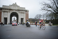 Jurgen Roelandts (BEL/Lotto-Soudal) leading solo through the Menin Gate War Memorial<br /> <br /> 77th Gent-Wevelgem 2015