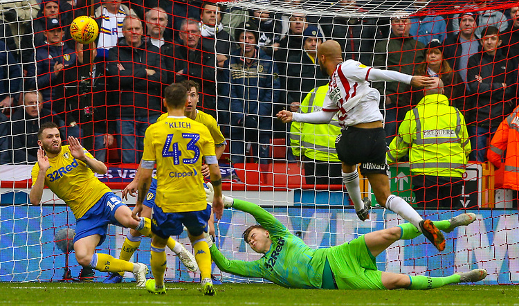 Sheffield United's David McGoldrick goes close in the first half<br /> <br /> Photographer Alex Dodd/CameraSport<br /> <br /> The EFL Sky Bet Championship - Sheffield United v Leeds United - Saturday 1st December 2018 - Bramall Lane - Sheffield<br /> <br /> World Copyright © 2018 CameraSport. All rights reserved. 43 Linden Ave. Countesthorpe. Leicester. England. LE8 5PG - Tel: +44 (0) 116 277 4147 - admin@camerasport.com - www.camerasport.com