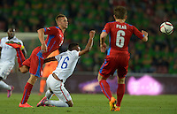 PRAGUE, Czech Republic - September 3, 2014: USA's Julian Green and Pavel Kaderabek of the Czech Republic during the international friendly match between the Czech Republic and the USA at Generali Arena.