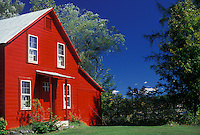 AJ1981, house, Adirondack Park, New York, Adirondacks, A bright red farmhouse with a gray roof in Wells in the adirondack Park in the state of New York.