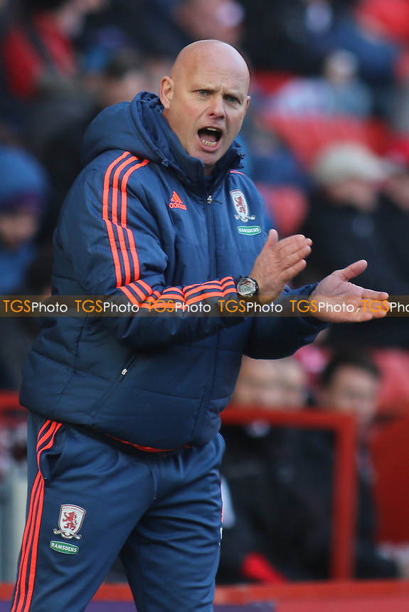 Steve Agnew in charge of Middlesbrough in the absence of Aitor Karanka during Charlton Athletic vs Middlesbrough, Sky Bet Championship Football at The Valley on 13th March 2016