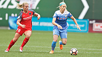 Portland, OR - Saturday April 29, 2017: Julie Johnston Ertz, Amandine Henry during a regular season National Women's Soccer League (NWSL) match between the Portland Thorns FC and the Chicago Red Stars at Providence Park.