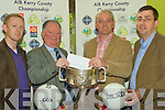 Making the Draw for the 2009 AIB Kerry County Football Championship in The Radio Kerry Office on Saturday were l-r: Kerry's Colm Cooper, Chairman of the County Board Jerome Conway, AIB Regional Director John O'Doherty and Pat McTigue from AIB.