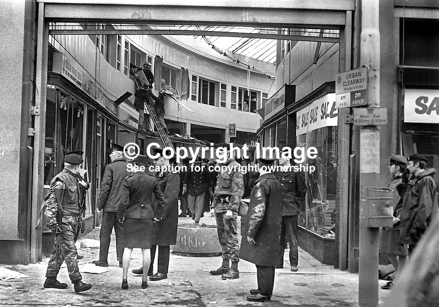 Scene, Provisional IRA explosion, North Street Arcade, Belfast, N Ireland, 13th January 1976, in which two civilians and two Provisional IRA members died when the bomb exploded prematurely. All of those who died were Roman Catholics. 197601130037a<br />