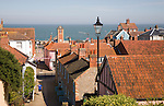 View over pan tiled roof tops out to the North Sea at Aldeburgh, Suffolk, England, UK