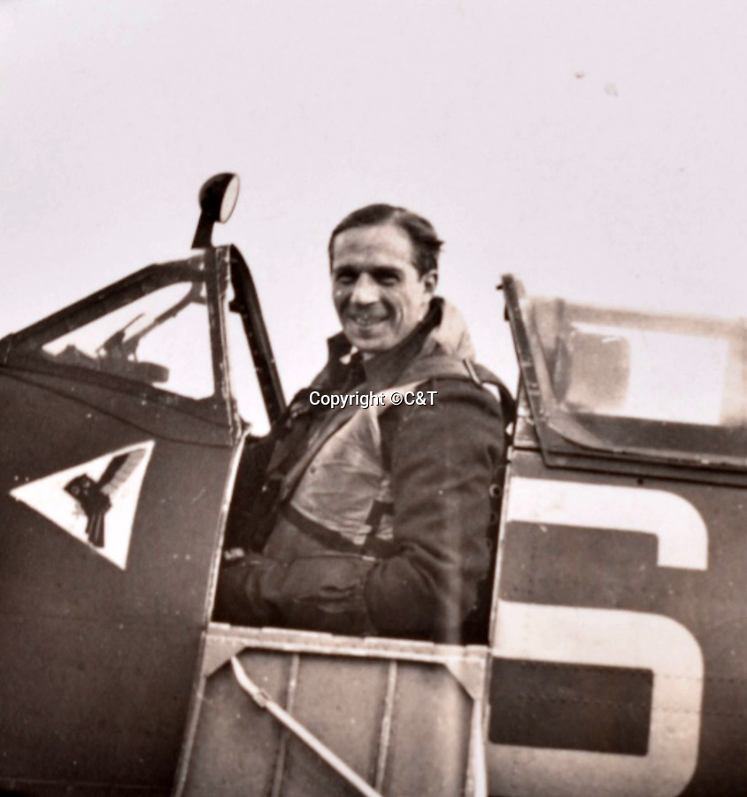 BNPS.co.uk (01202 558833)<br />Pic: C&T/BNPS<br /><br />Flt Lt Antoni Lipkowski in his Spitfire - he was initially thought to be to tall to fit into the famous Fighter but proved his doubters wrong.<br /> <br /> A fascinating photo album has sold for £1200 at auction - the previously unseen photographs chart the wartime career of Polish aristocrat Antoni Lipkowski -revealing how the emigree from Nazi Europe became a fighter pilot in the RAF.<br /> <br /> Flight Lieutenant Antoni Lipkowski escaped Poland when Germany invaded in 1939 and was desperate to join in the fight against the Nazis.<br /> <br /> Previously a cavalry officer, he retrained as a pilot and joined one of the Polish squadrons based in Britain which did such sterling work defending these skies in World War Two.<br /> <br /> Flt Lt Lipkowski, of 316 Polish Fighter Squadron, was very tall for a pilot and turned heads with his 'handsome' appearance.<br /> <br /> There are images of him in the cockpit of his Spitfire and posing nonchalantly in front of it with a cigarette in his hand.