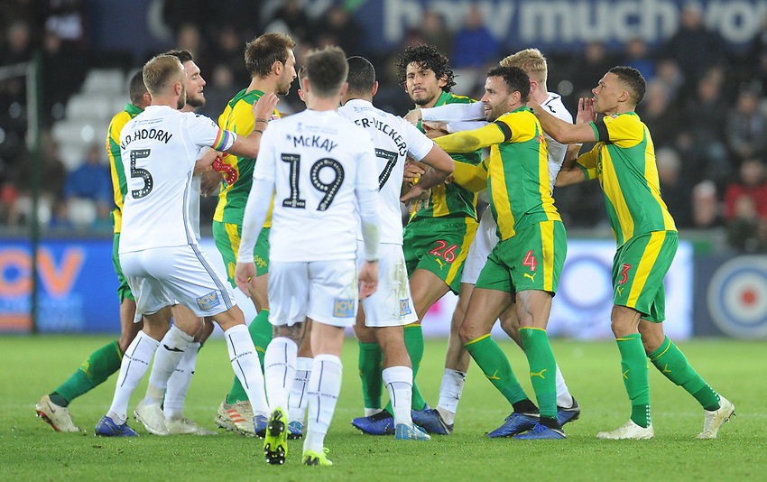 Players from both sides clash during an altercation<br /> <br /> Photographer Kevin Barnes/CameraSport<br /> <br /> The EFL Sky Bet Championship - Swansea City v West Bromwich Albion - Wednesday 28th November 2018 - Liberty Stadium - Swansea<br /> <br /> World Copyright © 2018 CameraSport. All rights reserved. 43 Linden Ave. Countesthorpe. Leicester. England. LE8 5PG - Tel: +44 (0) 116 277 4147 - admin@camerasport.com - www.camerasport.com