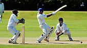Scotland V Afghanistan, ICC Intercontinental Cup tie, Day 3, at New Cambusdoon, Ayr - Scots batsman Moneeb Iqbal - perhaps Scotland's most effective bat in both innings, coming in when the team was under most pressure - hits out and away from Afghan keeper Mohammad Shazad and short-leg Noor Ali - Picture by Donald MacLeod 14.08.10 - mobile 07702 319 738 - clanmacleod@btinternet.com