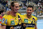 GER - Mannheim, Germany, September 23: Players of Rhein-Neckar Loewen celebrate after winning the DKB Handball Bundesliga match between Rhein-Neckar Loewen (yellow) and TVB 1898 Stuttgart (white) on September 23, 2015 at SAP Arena in Mannheim, Germany. Final score 31-20 (19-8) .  Kim Ekdahl du Rietz #60 of Rhein-Neckar Loewen, Alexander Petersson #32 of Rhein-Neckar Loewen<br /> <br /> Foto &copy; PIX-Sportfotos *** Foto ist honorarpflichtig! *** Auf Anfrage in hoeherer Qualitaet/Aufloesung. Belegexemplar erbeten. Veroeffentlichung ausschliesslich fuer journalistisch-publizistische Zwecke. For editorial use only.