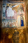 """Famous and historic White Angel fresco within the church at the Monastery Mileševa, Serbia originally built in the early 13th century...Fresco: """"Holy Chrism Bearers at the tomb"""", aka The White Angel (of Mile?iva), depicting the Angel Gabriel over the empty tomb of Jesus after rising to heaven...One of the finest examples of Serbo-Bizantine frescoe and artworks from the 13th century European middle ages ...The White Angel was the first image broadcast via the first satellite transmission via Telstar from the east to the west, Europe to America as a gesture of peace and civilization right after the Cuban Missile Crisis of 1962. ..The same image was also broadcast to deep space as a communication to any extraterrestrial life that may be out in the universe."""