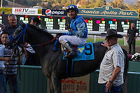 Rafael Bejarano aboard Tilde winner of the Keith E. Card Cal Cup Juvenile Fillies at Santa Anita Park in Arcadia, California on October 13, 2012.