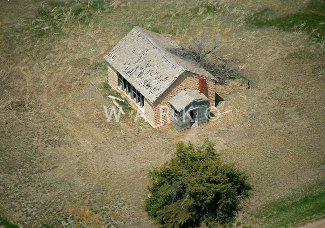 Abandoned Kansas one-room schoolhouse. May 2014. 83902